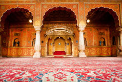 Golden rest room of Maharajah in the palace of 16th century. BIKANER, INDIA: Golden rest room of maharajah in the palace of 16th century Junagarh Fort. The 5.28 Stock Photos
