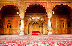 Golden restroom of maharajah in palace. BIKANER, INDIA - MAR 4: Golden rest room of maharajah in the palace of 16th century Junagarh Fort on March 4, 2015. The 5 Stock Photos