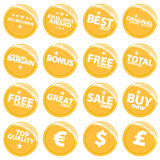 Golden retail web stickers Royalty Free Stock Photography