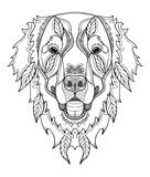 Golden retriever dog zentangle, doodle stylized head, hand drawn. Pattern. Zen art. Ornate vector. Black and white illustration on white background. Print for Stock Images