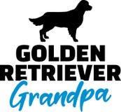 Golden Retriever Grandpa. Silhouette black stock illustration