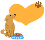 Golden retriever looking up with big heart shape in the backgrou Stock Photography