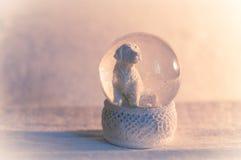 Golden retriever snow-globe. Snow falling inside golden retriever snowglobe Royalty Free Stock Image