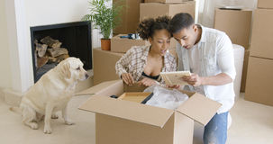 Golden retriever watching his owners pack Stock Images