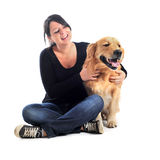 Golden retriever and woman Royalty Free Stock Images