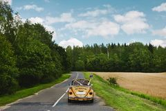 Golden retro cabriolet with a couple of just married, on the empty road between the field and the forest stock photo
