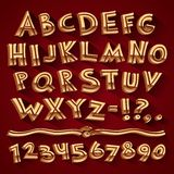 Golden Retro 3D Font with Strips on Red Background Stock Photo