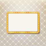 Golden retro frame with light bulbs on royal pattern background Royalty Free Stock Photography