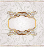 Golden retro frame, seamless floral texture Royalty Free Stock Photos