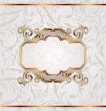 Golden retro frame, seamless floral texture Royalty Free Stock Photos