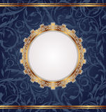 Golden retro frame, seamless floral texture Royalty Free Stock Photo