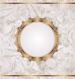 Golden retro frame, seamless floral texture Stock Photos