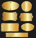 Golden retro labels badges and frames collection. Golden retro labels badges and frames set vector illustration