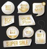 Golden retro labels badges and frames collection. Golden retro labels badges and frames set stock illustration