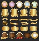 Golden retro labels badges frames and ribbons collection. Golden retro labels badges frames and ribbons set stock illustration