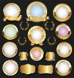 Golden retro labels badges frames and ribbons collection. Golden retro labels badges frames and ribbons set royalty free illustration