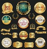 Golden retro labels badges frames and ribbons collection. Golden retro labels badges frames and ribbons set Royalty Free Stock Photos