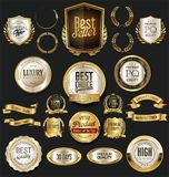 Golden retro labels badges frames and ribbons collection. Golden retro labels badges frames and ribbons set Royalty Free Stock Images