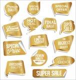 Golden retro labels badges and frames collection. Golden retro labels badges and frames set royalty free illustration