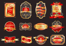 Golden retro labels emblems collection Stock Image