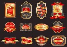 Golden retro labels emblems collection Stock Image