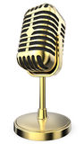 Golden Retro Microphone. Royalty Free Stock Images