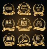Golden retro sale badges and labels  collection Stock Photo