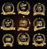 Golden retro sale laurel wreaths vector collection. Set royalty free illustration