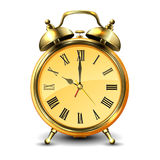 Golden retro style alarm clock. Golden retro style alarm clock  on white background. Vector illustration Stock Image