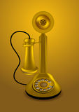 Golden retro telephone Royalty Free Stock Images