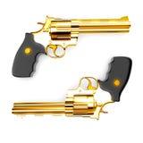 Golden revolver gun Stock Photos