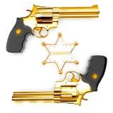 Golden revolver gun Royalty Free Stock Image