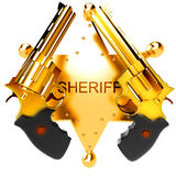 Golden revolver gun Royalty Free Stock Photos