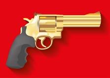 Golden revolver. Illustration vector Royalty Free Stock Photo