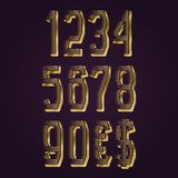 Golden ribbed numbers with currency signs of American dollar and euro. Vector symbols.  royalty free illustration