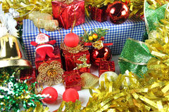 Golden ribbon Accessory decorations of Christmas day. Royalty Free Stock Image