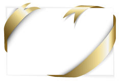 Golden ribbon around white paper Stock Image