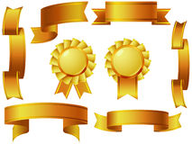 Golden ribbon awards set. Set of Golden Ribbon Banners with Space For Text Royalty Free Stock Images