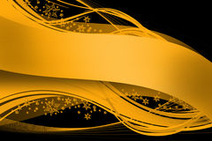 Golden Ribbon on Black Stock Image