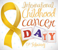 Golden Ribbon with Blocks and Reminder of Childhood Cancer Day, Vector Illustration Stock Photography