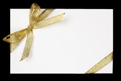 Golden ribbon and bow Royalty Free Stock Images