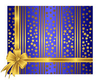 Golden ribbon with bow. Golden ribbon with bow against a striped and stars background Royalty Free Stock Images