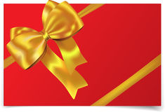 Golden ribbon with bow Royalty Free Stock Photo