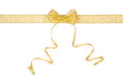 Golden ribbon and bow Stock Image