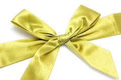 Golden ribbon with bow stock images