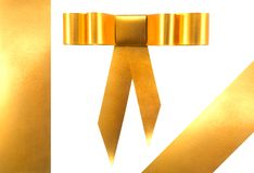 Golden ribbon and bow. Stock Photo