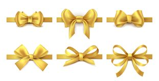 Golden ribbon bow. Holiday gift decoration, valentine present tape knot, shiny sale ribbons collection. Vector gold bows