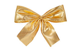 Golden ribbon bow isolated Royalty Free Stock Images