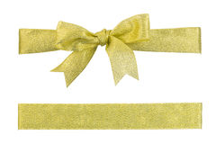 Golden ribbon bow isolated Royalty Free Stock Photography