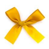 Golden ribbon bow isolated on white Stock Photos